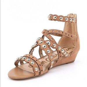Sam Edelman Dusted Studded Suede Sandal Wedge 8